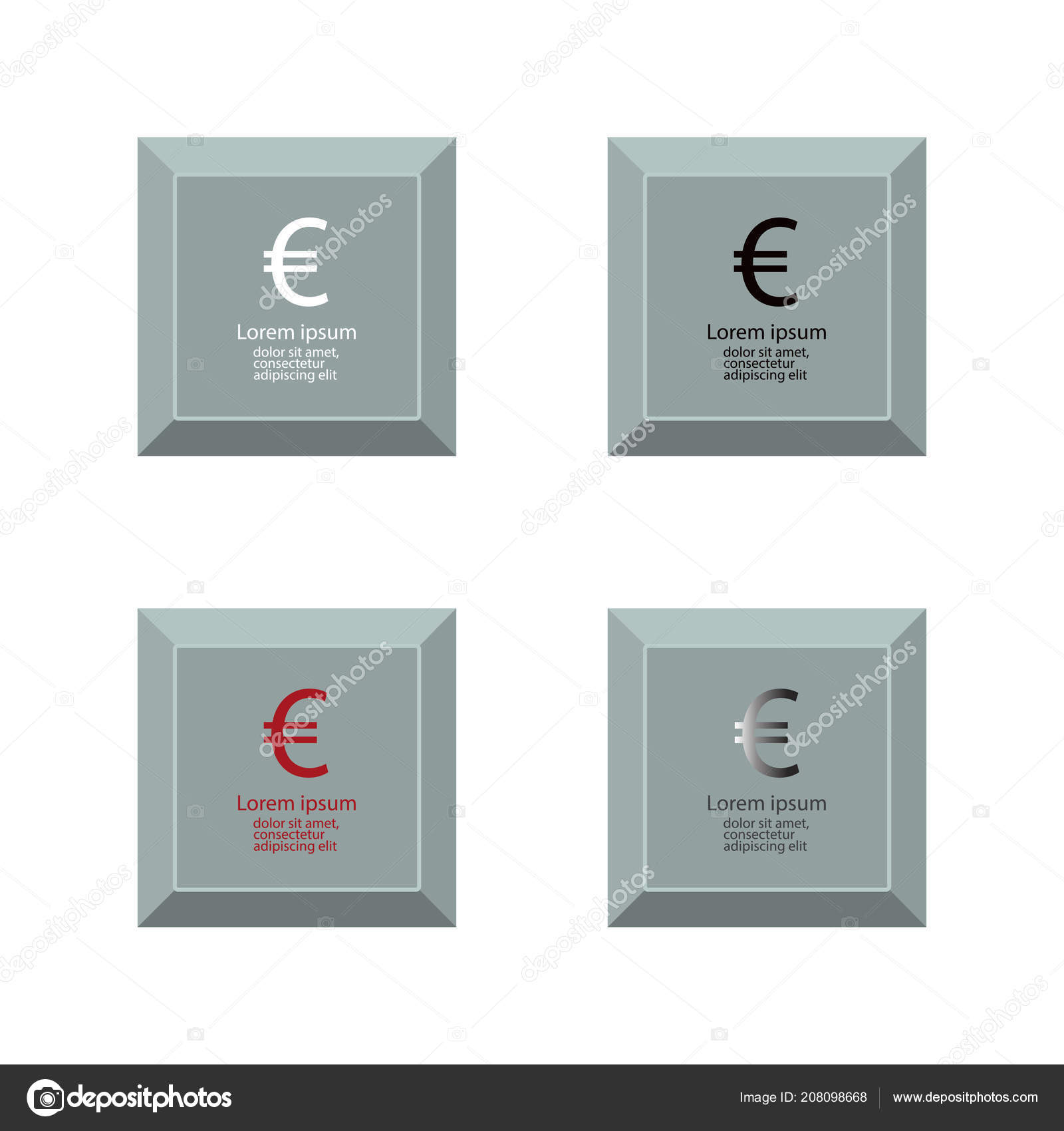Set Of Icons With Euro Currency Symbol Stock Vector Tanyabegun