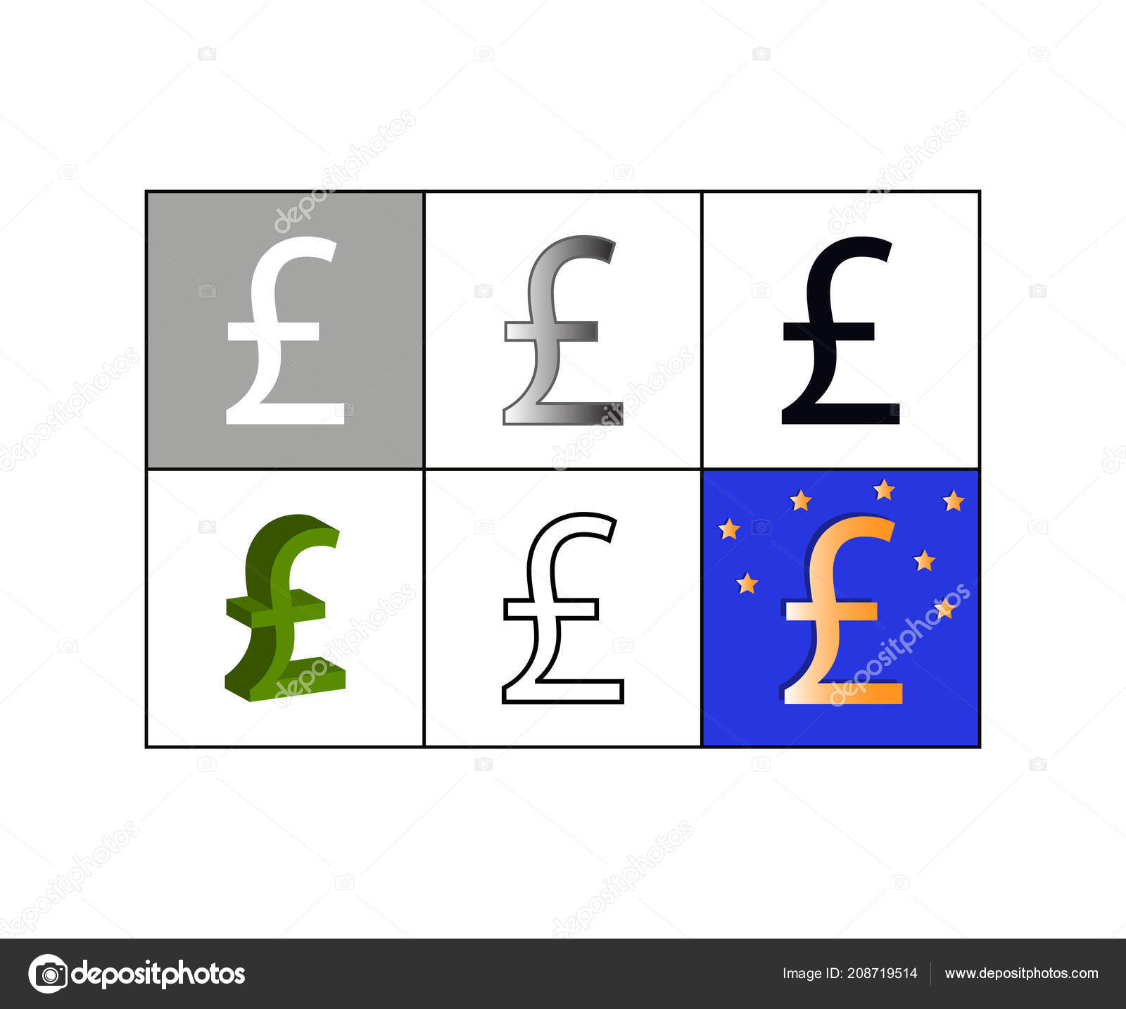 Set Of Icons With Pound Currency Symbol