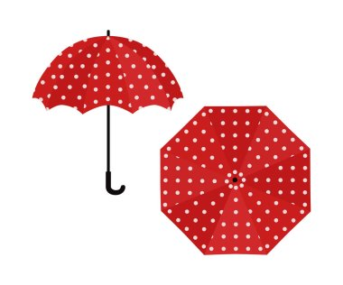 Umbrella red with polka dot on white background. Vector illustration icon
