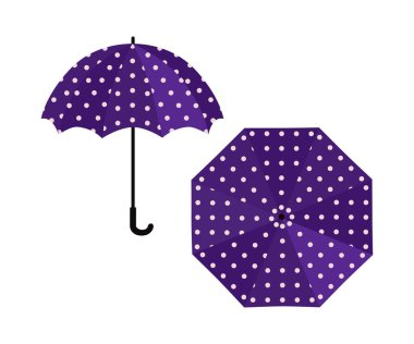 Umbrella purple with polka dot on white background. Vector illustration icon