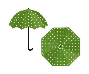 Umbrella green with polka dot on white background. Vector illustration icon