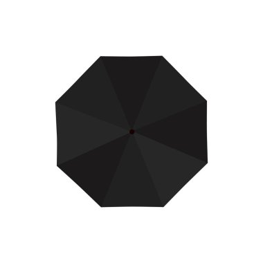 Black rain umbrella isolated on white background. Vector illustration icon