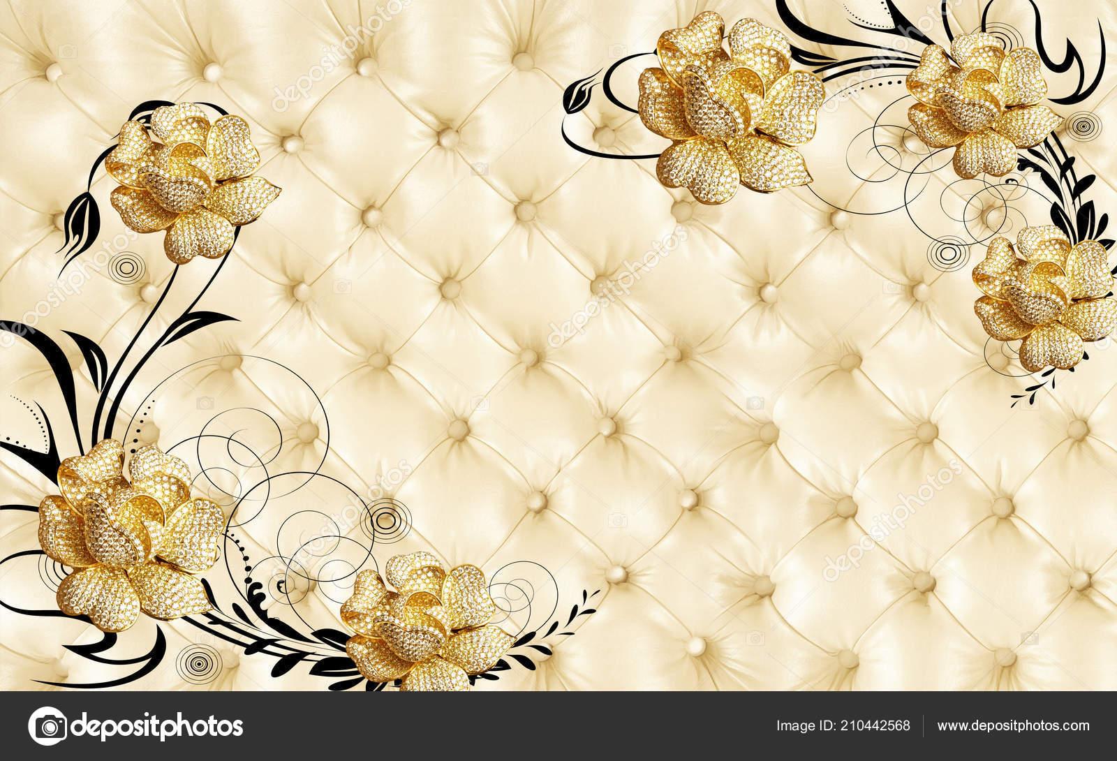 Background Jewellery Wallpaper Golden Jewelry Flower