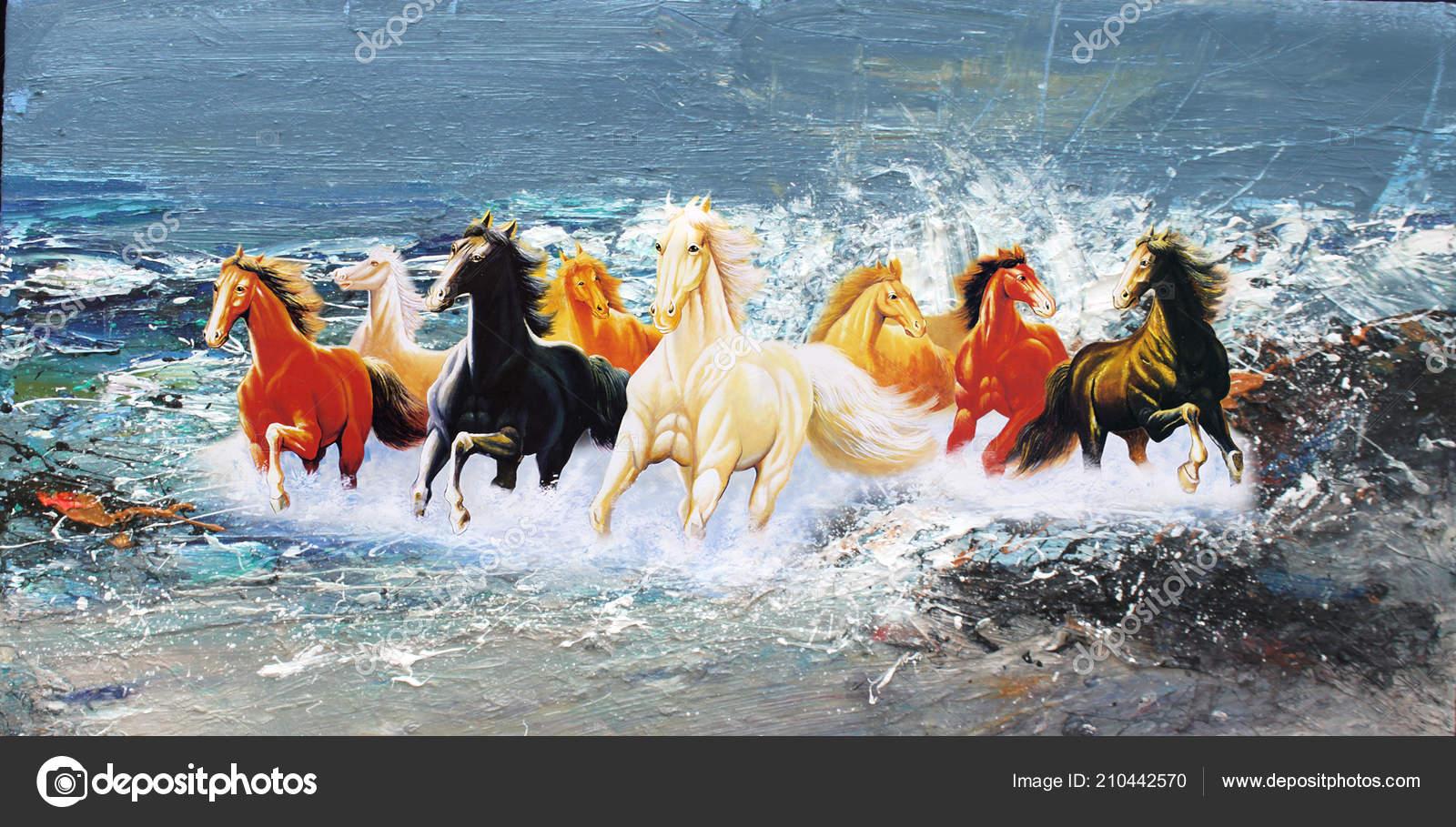 Pictures 3d Horses Horses Painting Art Wallpaper Frame Stock