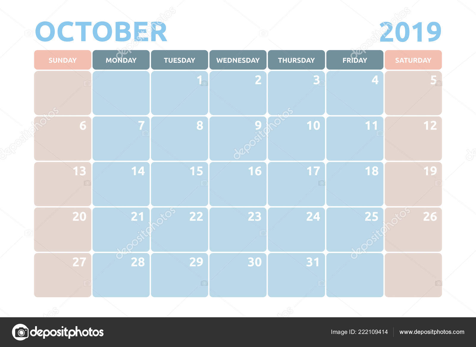 Minimal Calendar Design October 2019 Copy Space Desk Planner