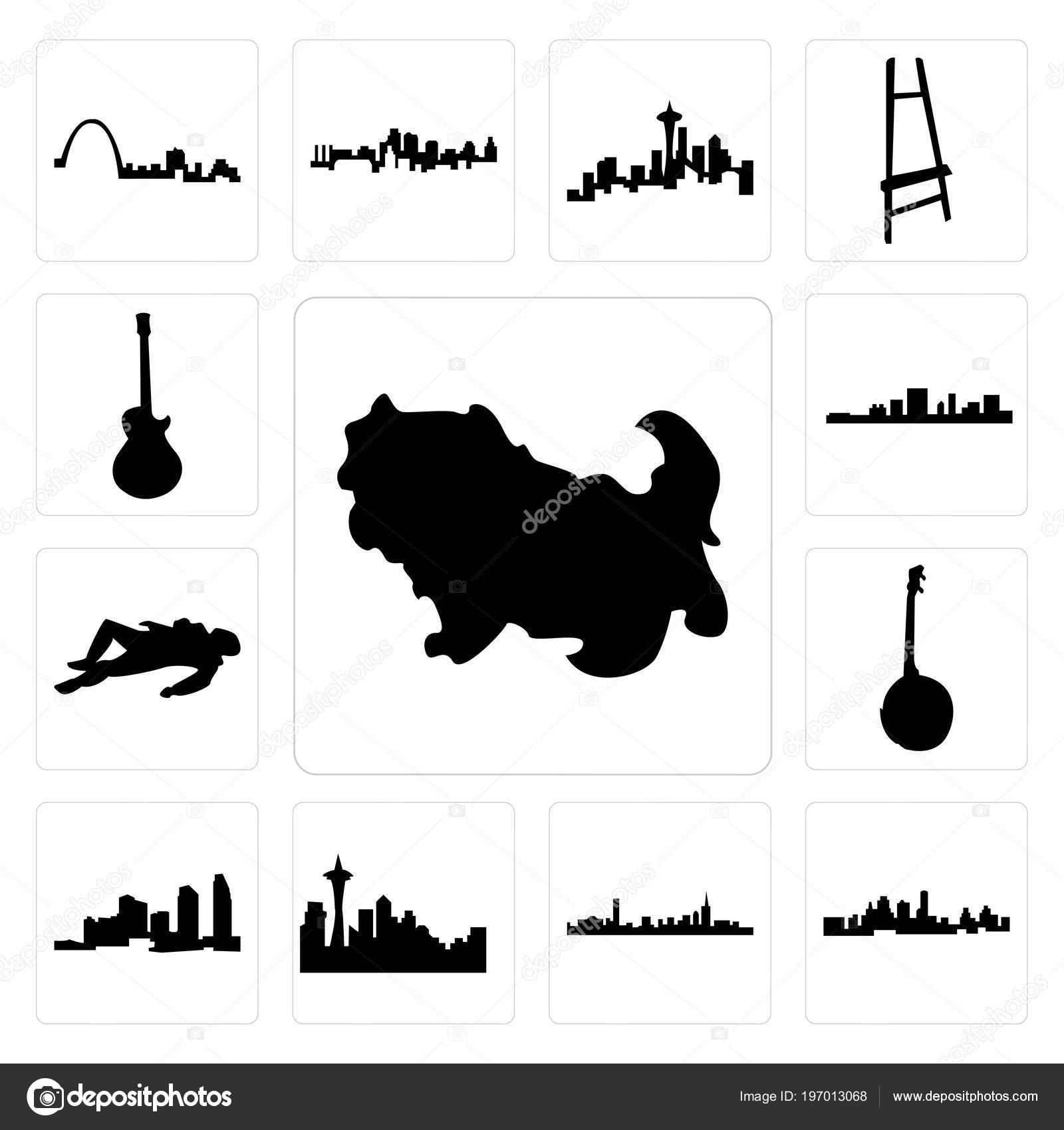 Set Simple Editable Icons Shih Tzu Kansas City Skyline Boston