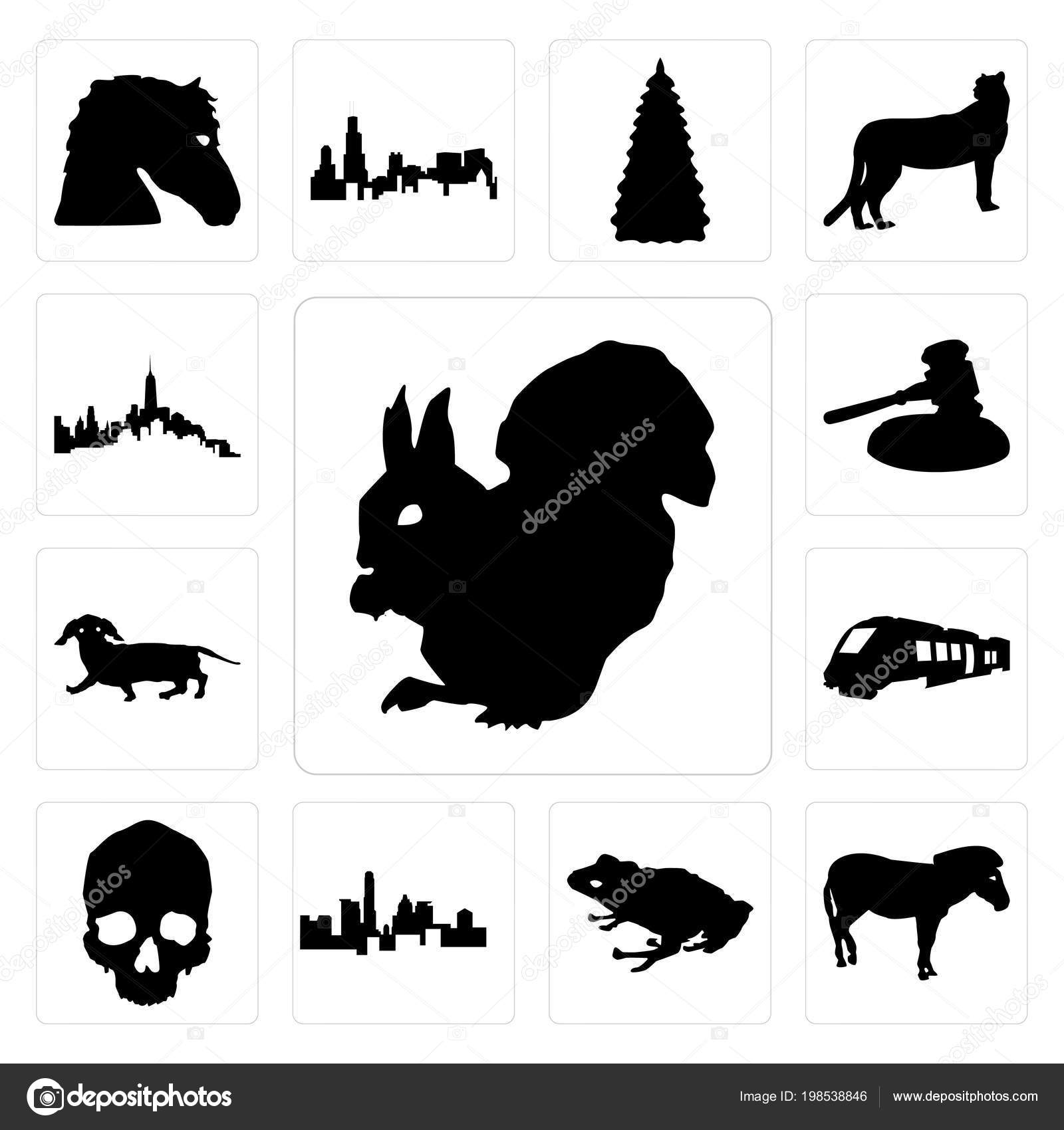 838515c5ad12c Set Of 13 simple editable icons such as outline of a squirrel on white  background