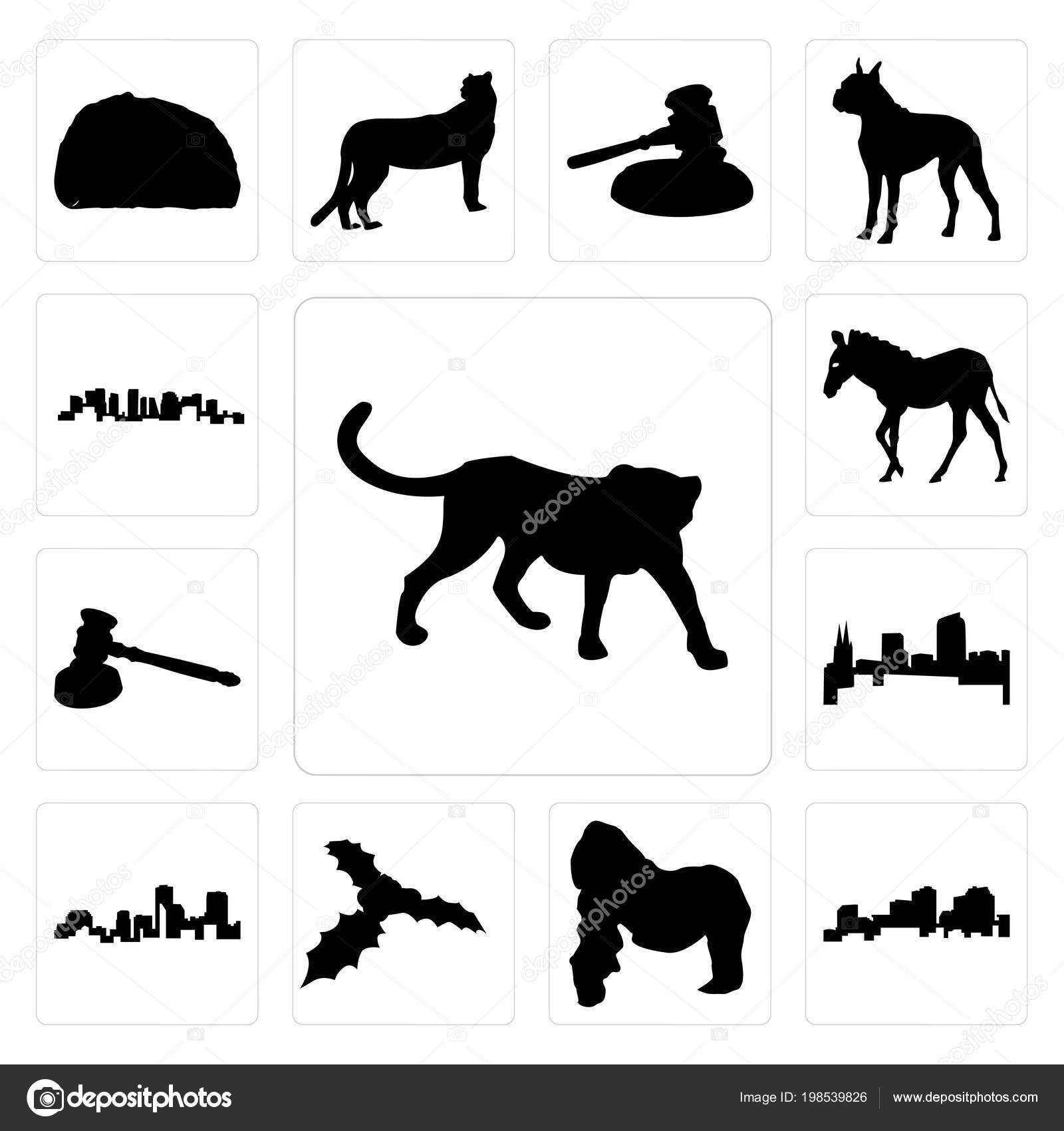 0f56a9d84040b Set Of 13 simple editable icons such as cheetah outline on white background