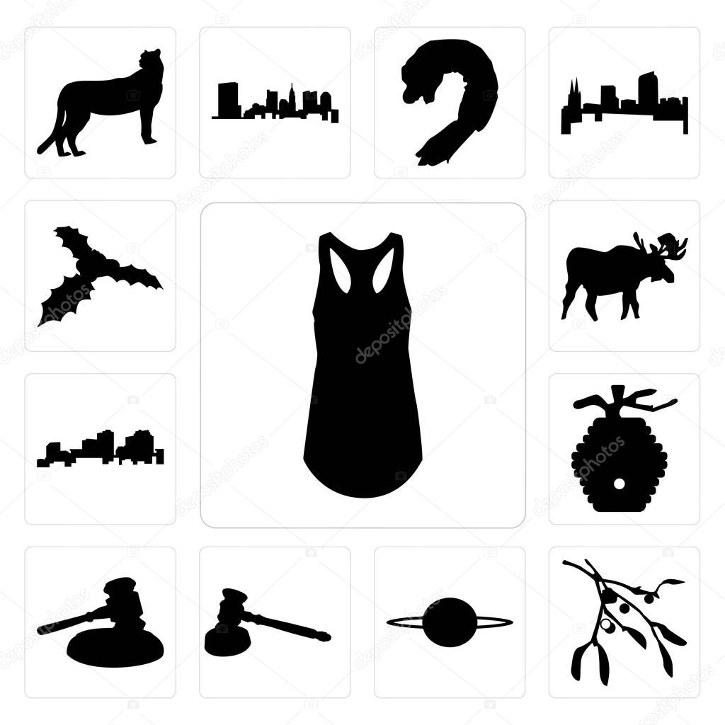 39ce33986048e Set Of 13 simple editable icons such as tank top outline on white background