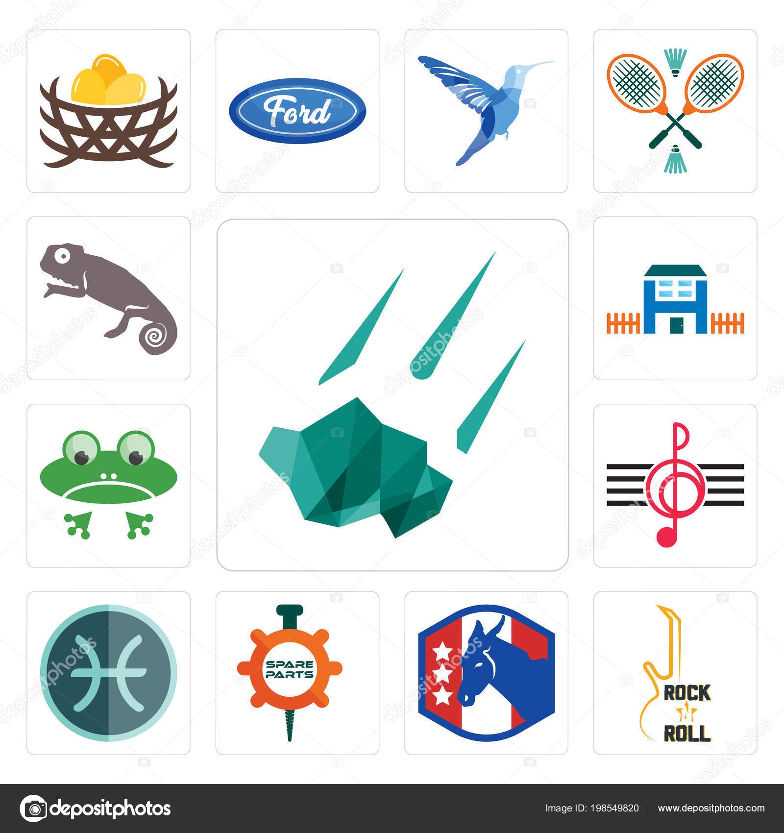 375ef7800 Set Of 13 simple editable icons such as meteorite, rock n roll, democratic  party, spare parts, pisces, treble clef, frog, h house, chameleon can be  used for ...