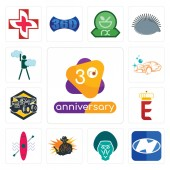 Fotografie Set Of 13 simple editable icons such as 3rd anniversary, h, baboon, outlaw, kayak, e crown, dump truck, carwash, ambition can be used for mobile, web UI
