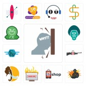 Fotografie Set Of 13 simple editable icons such as frustration, outlaw, eshop, breaking news, mammoth, gun shop, semi truck, baboon, pharmacy can be used for mobile, web UI