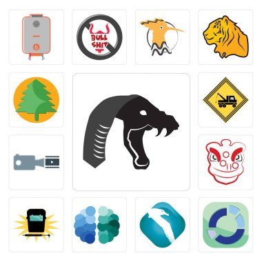 Set Of 13 simple editable icons such as mamba, sector, albatross, free brain, welding, lion dance, footage, towing, pinetree can be used for mobile, web UI