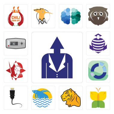 Set Of 13 simple editable icons such as personal development, buterfly, tiger, betta fish, ethernet, sector, spartan, purple cobras, thermostat can be used for mobile, web UI clip art vector