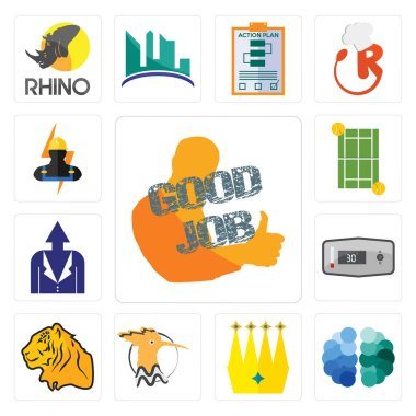 Set Of 13 simple editable icons such as good job, free brain, crown, hoopoe, tiger, thermostat, personal development, tennis court, electrician can be used for mobile, web UI clip art vector