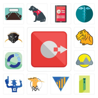 Set Of 13 simple editable icons such as output, zipper, yield, hoopoe, sports fan, montain, sector, tiger, honey badger can be used for mobile, web UI