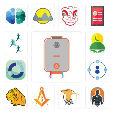 Set Of 13 simple editable icons such as boiler, fitness, hoopoe, masonic, tiger, tidy, sector, quran, competitive advantage can be used for mobile, web UI