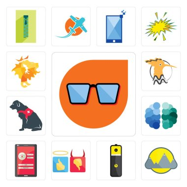 Set Of 13 simple editable icons such as nerd glasses, montain, lithium battery, good bad, login screen, free brain, service dog, hoopoe, de can be used for mobile, web UI