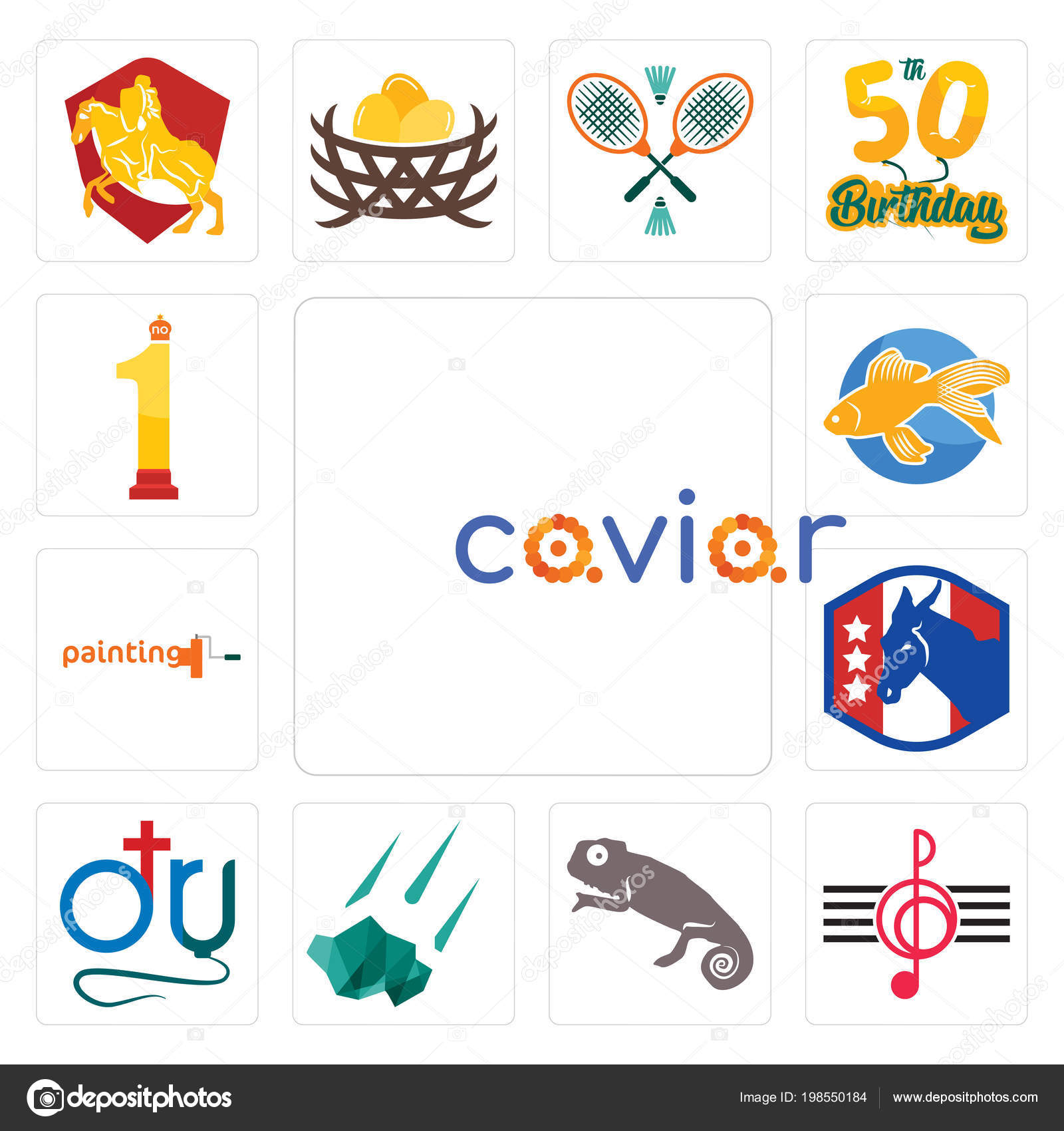 dd7e1d1d3 Set Of 13 simple editable icons such as caviar, treble clef, chameleon,  meteorite, dr., democratic party, painting company, goldfish, no.1 can be  used for ...