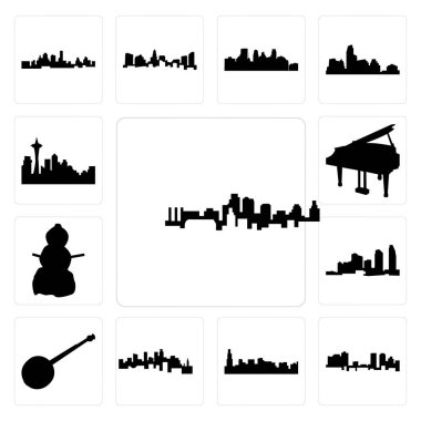 Set Of 13 simple editable icons such as kansas city skyline, fort worth chicago minnesota, banjo, long island, snowman, grand piano can be used for mobile, web UI