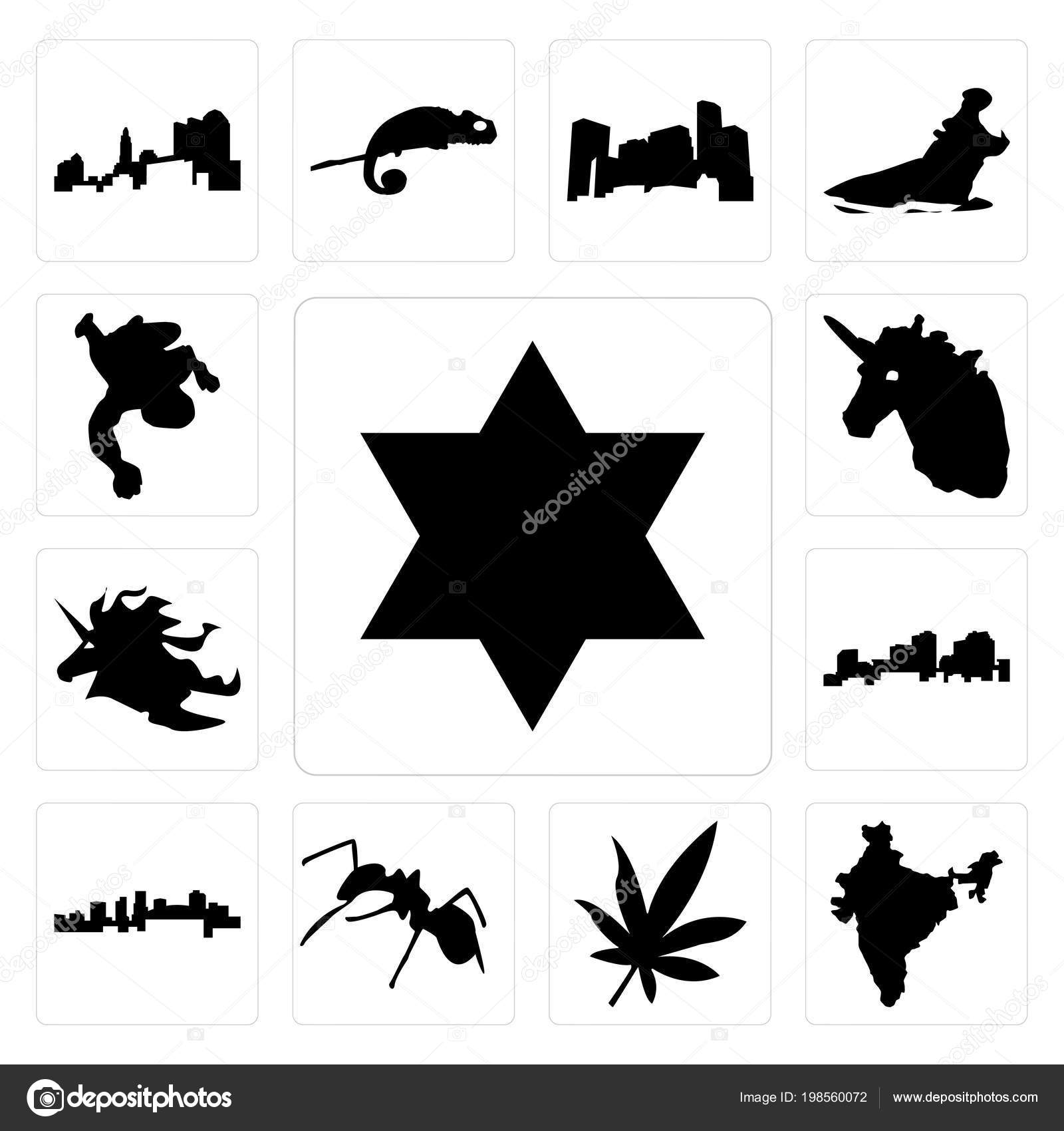 Set Simple Editable Icons Star David India Marijuana Leaf