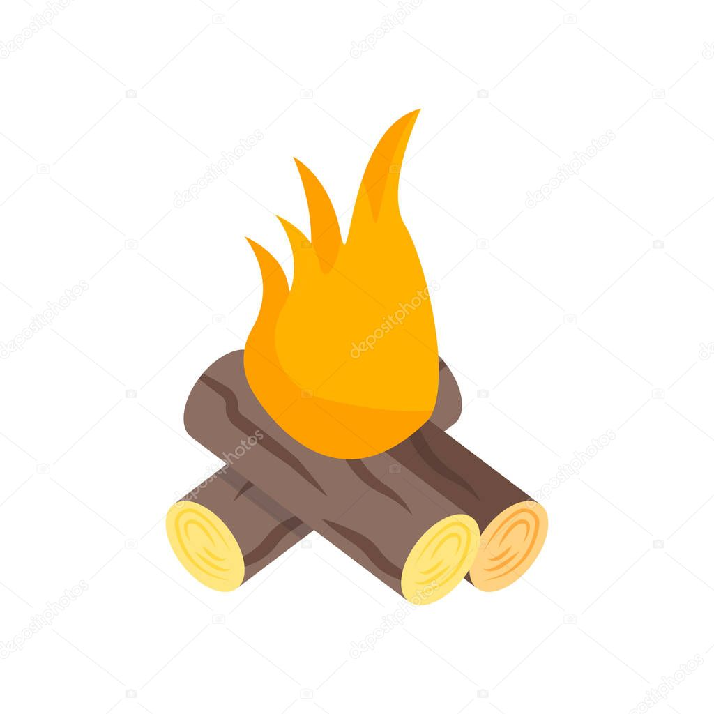 Bonfire icon vector sign and symbol isolated on white background, Bonfire logo concept