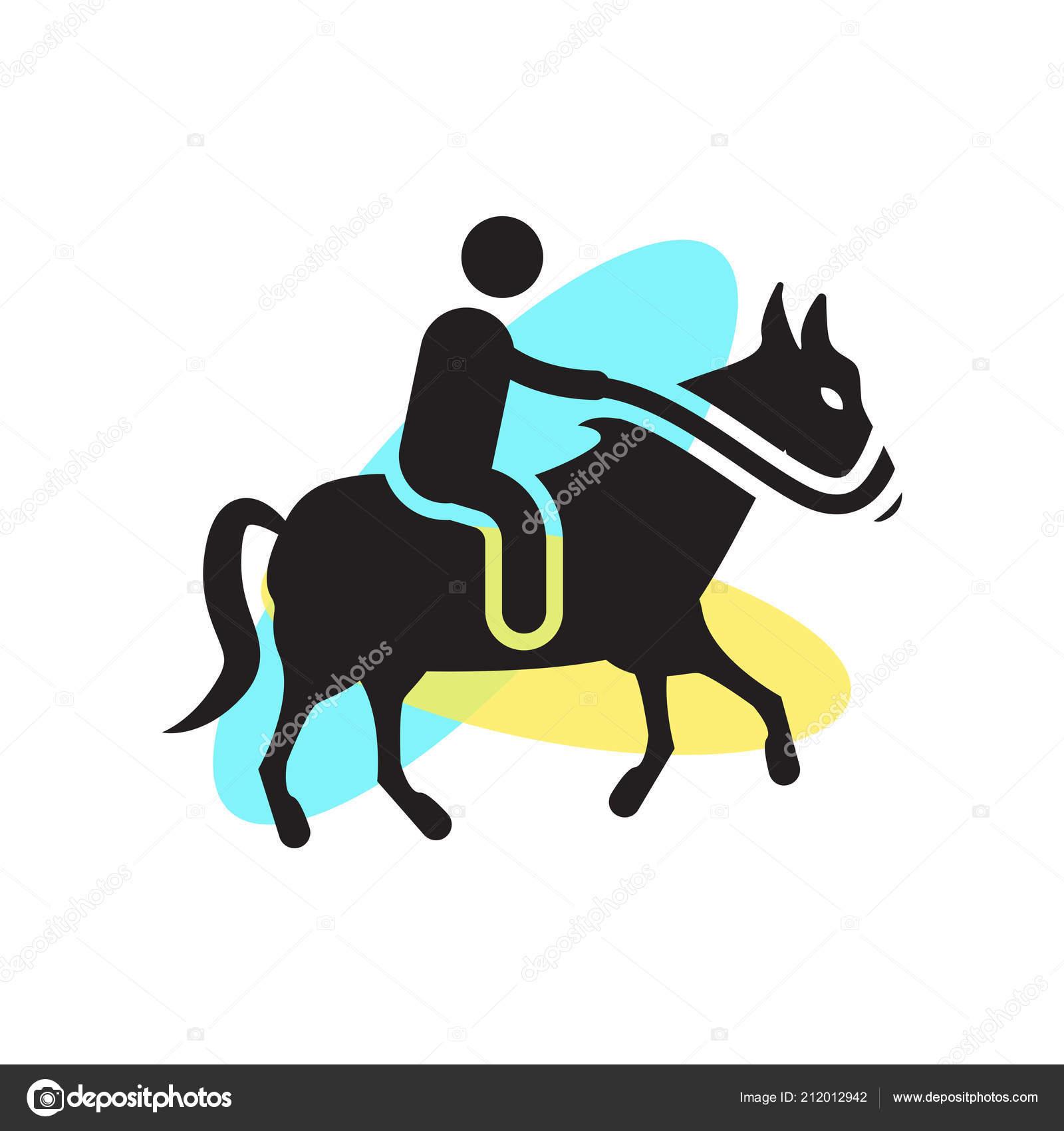 Man riding a horse logo | Man riding a horse icon vector