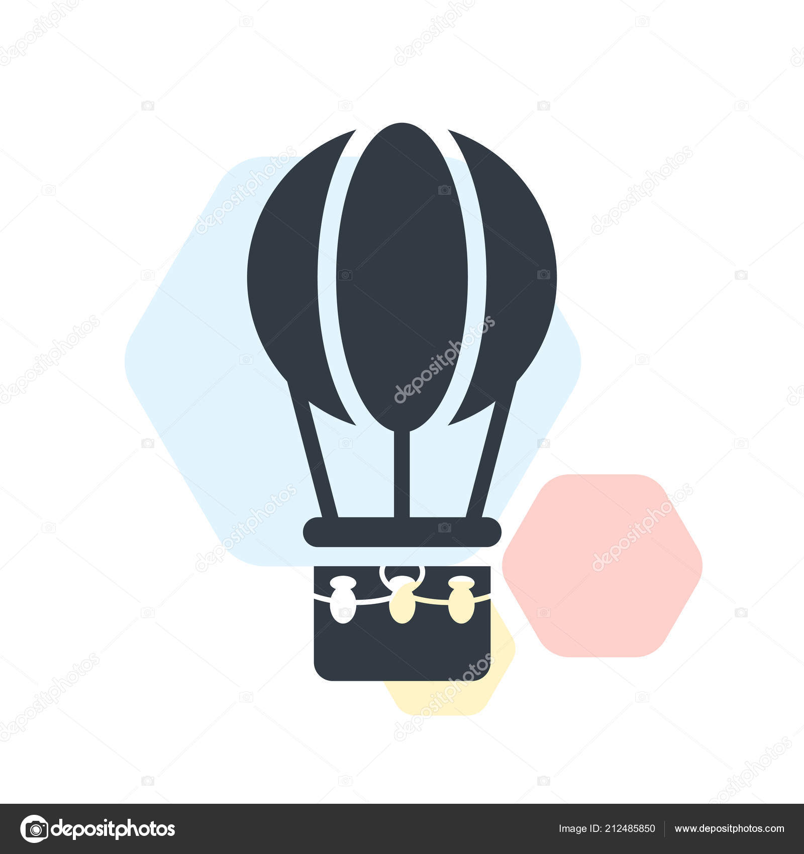 Hot Air Balloon Icon Vector Sign And Symbol Isolated On White Ba