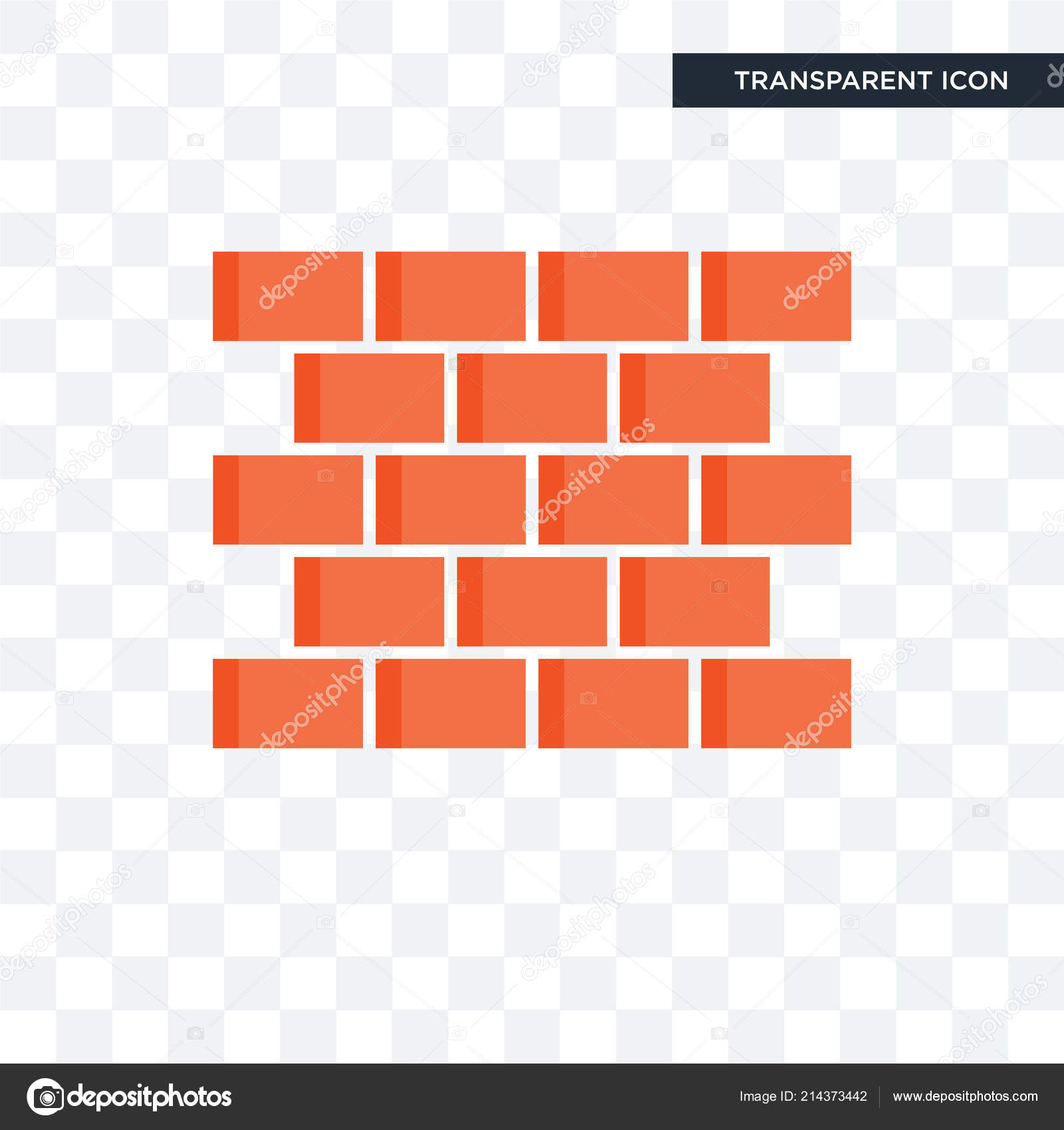 Brick Wall Vector Icon Isolated On Transparent Background Brick