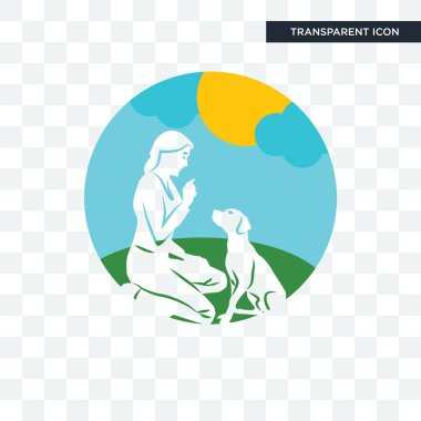 dog trainer vector icon isolated on transparent background, dog