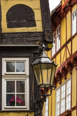 Lantern at an old timbered house in Quedlinburg, Germany