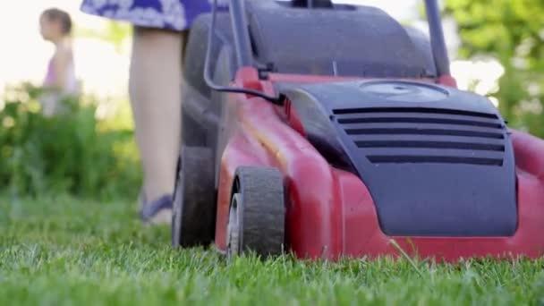 fiatal nő vágott zöld fű a owm otthon udvar fűnyíró. 4k