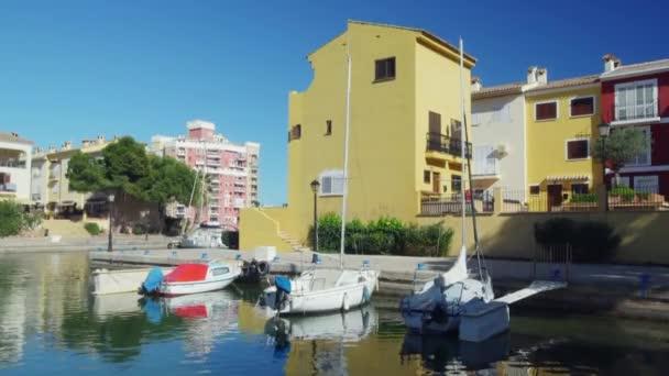SPAIN, Port Saplaya - February 2018, nice view of beautiful yellow house