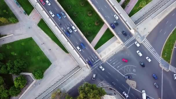 Aerial Video footage of bird view of an road with crowded vehicle in rush hour, Urban cars speeding on the road. taken by drone, shot at Valencia - Spain