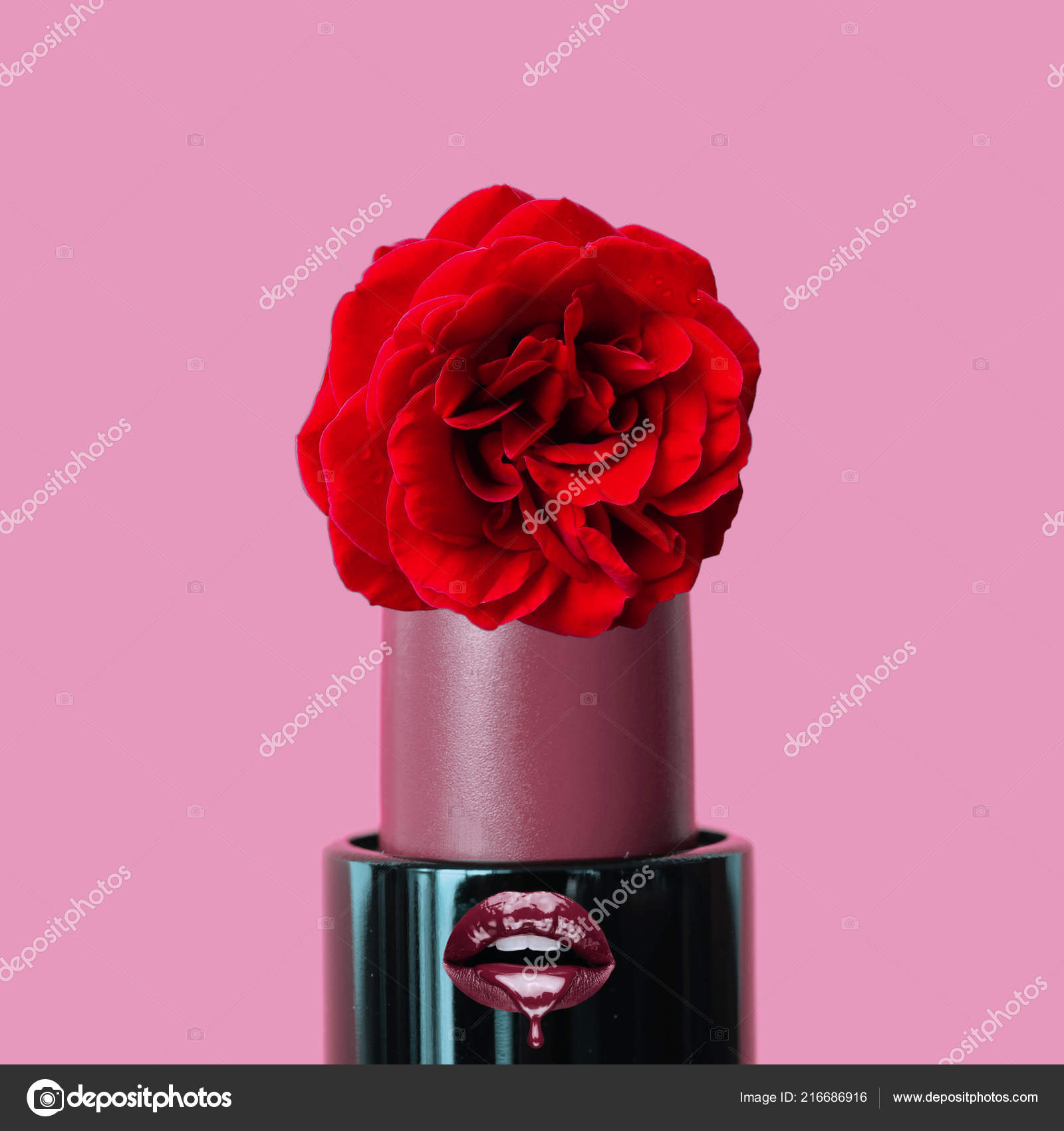 Abstract Art Collage Lipstick Red Rose Pink Background