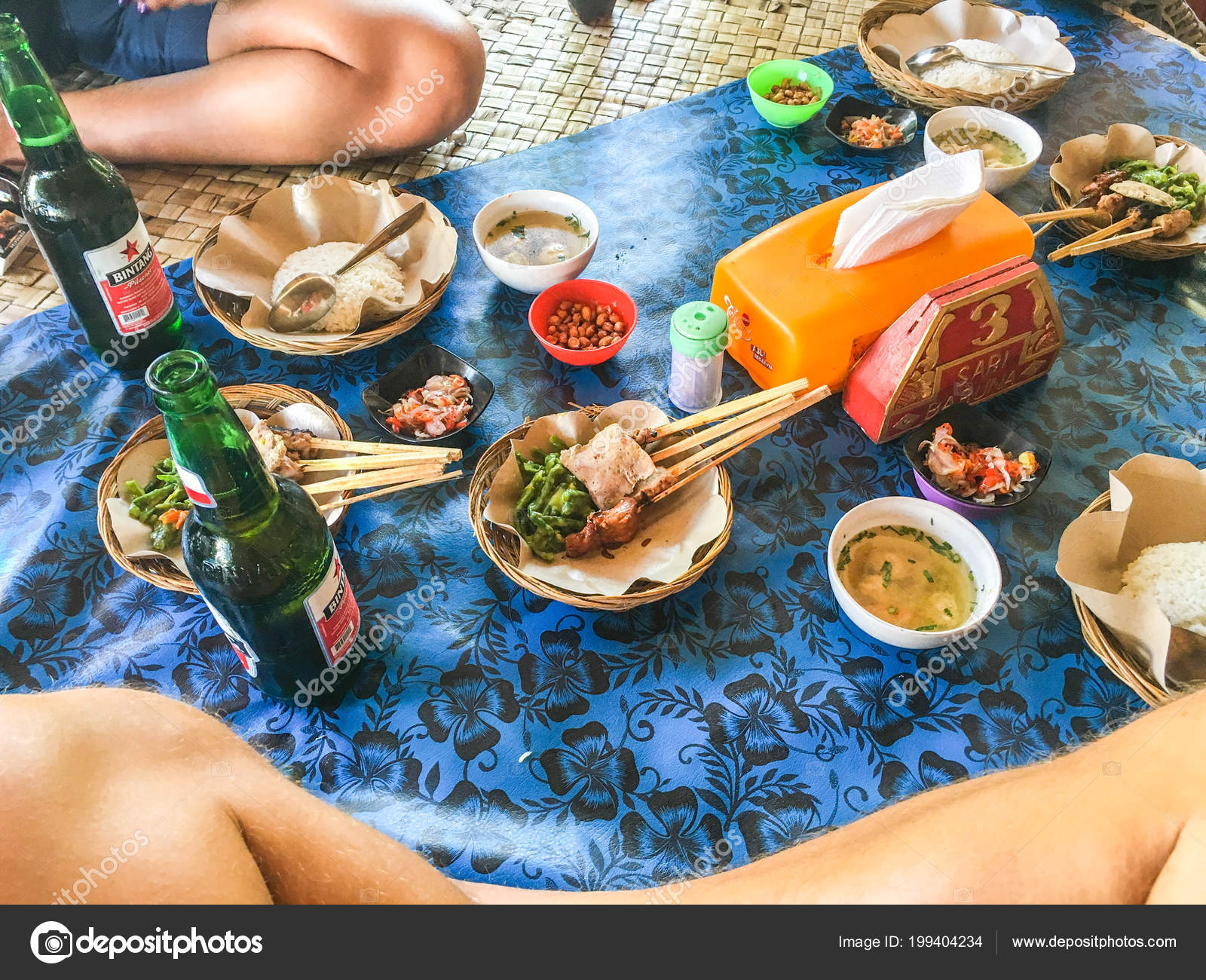 Balinese Traditional Food Skewers Stock Editorial Photo