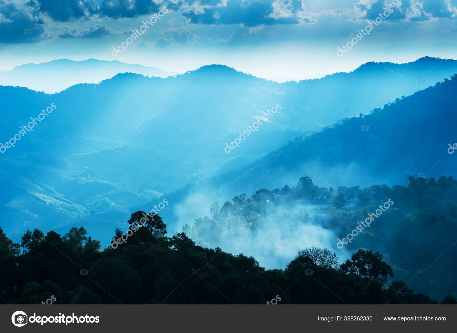 Scenery Blue Mountains Sunrise Gentle Morning Fog Blankets Village Valley Stock Photo Image By Taneso99o 398262330