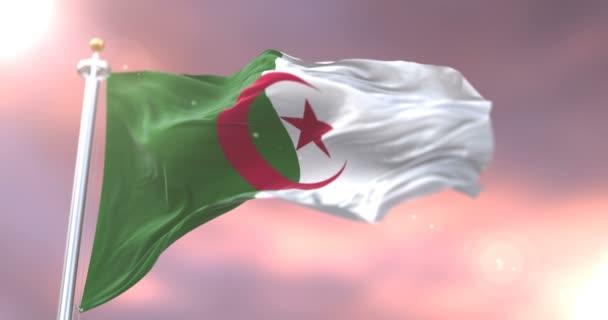 Algeria flag waving at wind at sunset, loop