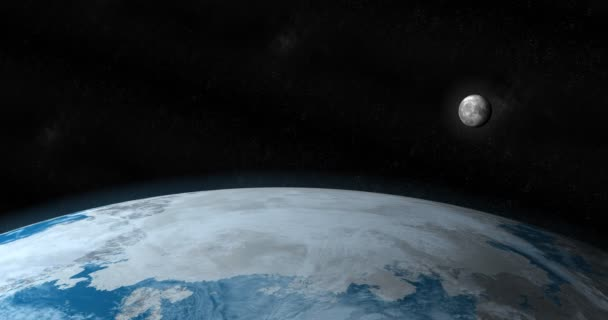 Moon satellite around the planet earth in the outer space