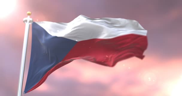 Flag of the Czech Republic waving at wind at sunset, loop