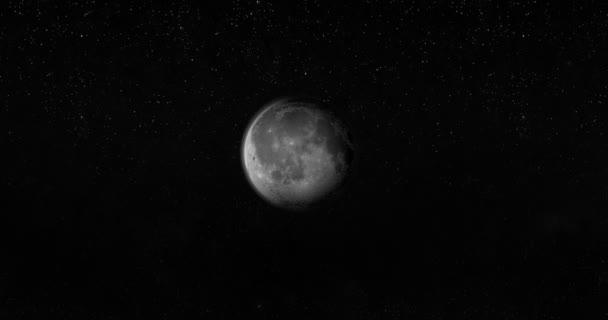 Měsíc, satelitní otočení v prostoru s hvězdami