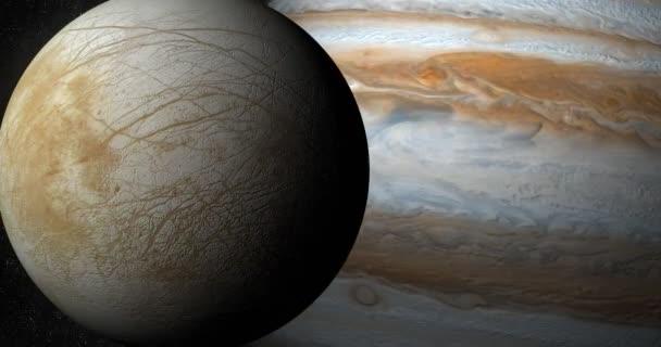 Měsíc Europa a planeta Jupiter v rotaci v kosmickém prostoru