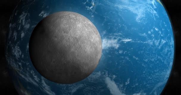 Měsíc a planetu Zemi obíhající v kosmickém prostoru