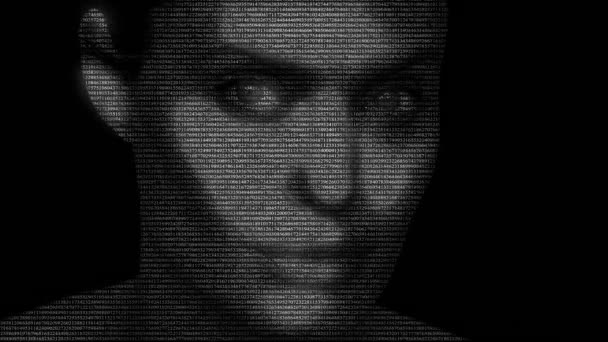 Animation of actress Angelina Jolie with numbers running