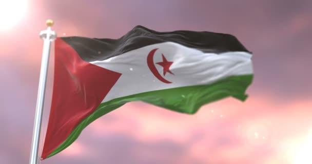 Vlajka Západní Sahary mával na vítr pomalu při západu slunce, smyčka