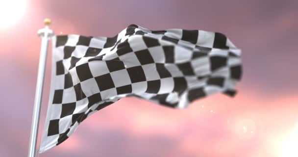 Formule F1 race mávání vlajkami na vítr při západu slunce, smyčka