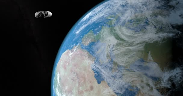 Eros asteroid orbiting in the outer space passing near of Earth planet