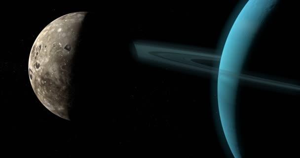 Oberon měsíc obíhající kolem planety uran v kosmickém prostoru