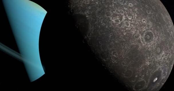 Umbriel měsíc obíhající kolem planety uran v kosmickém prostoru