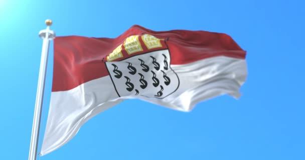 Flagge der Stadt Köln im Bundesstaat Nord Rhein Westfalen, Deutschland. Schleife